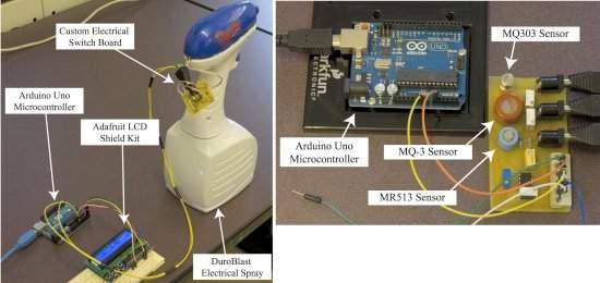 À esquerda, o transmissor, incluindo o sistema de pulverização (spray). À direita, o sistema de detecção (sensor) e decodificação das mensagens transmitidas por álcool pelo ar.[Imagem: Nariman Farsad et al./PLOS One]